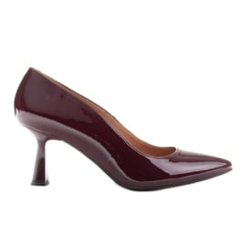 Marco Shoes Eleganckie czółenka z lakieru w kolorze bordowym czerwone