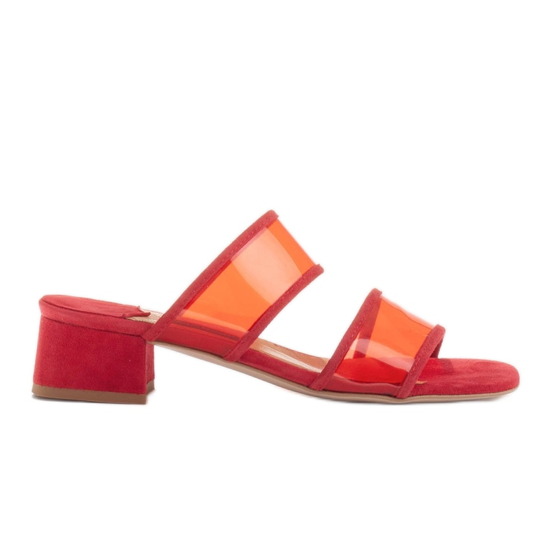 Marco Shoes Klapki damskie z półprzeźroczystymi paskami czerwone