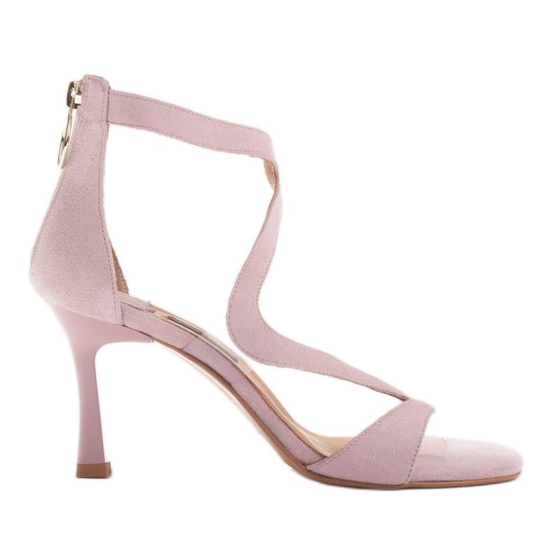 Marco Shoes Eleganckie sandały Ava różowe
