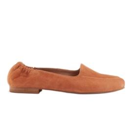 Marco Shoes Baleriny damskie z gumką w cholewce pomarańczowe