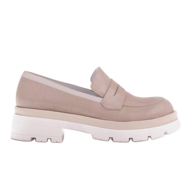 Marco Shoes Półbuty z zamszu ze wzorkiem na grubej podeszwie beżowy