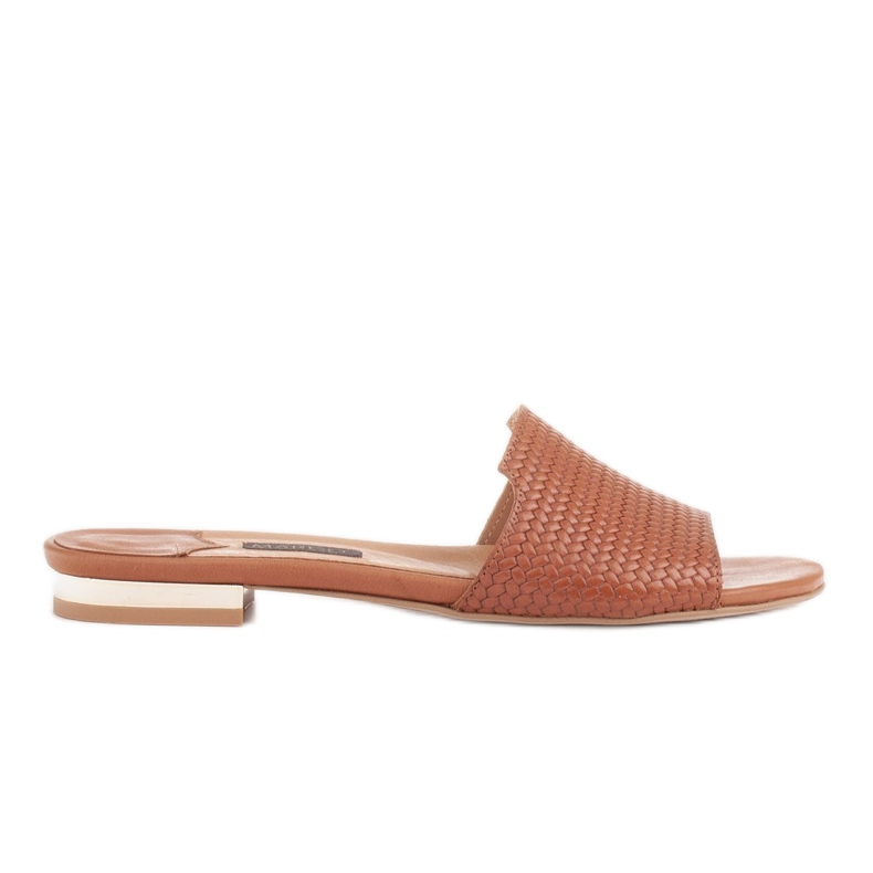 Marco Shoes Eleganckie klapki damskie z brązowej skóry