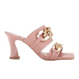 Marco Shoes Klapki damskie ze skóry z łańcuchem ozdobnym różowe