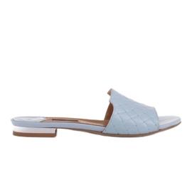 Marco Shoes Eleganckie klapki damskie z tłoczonej skóry niebieskie