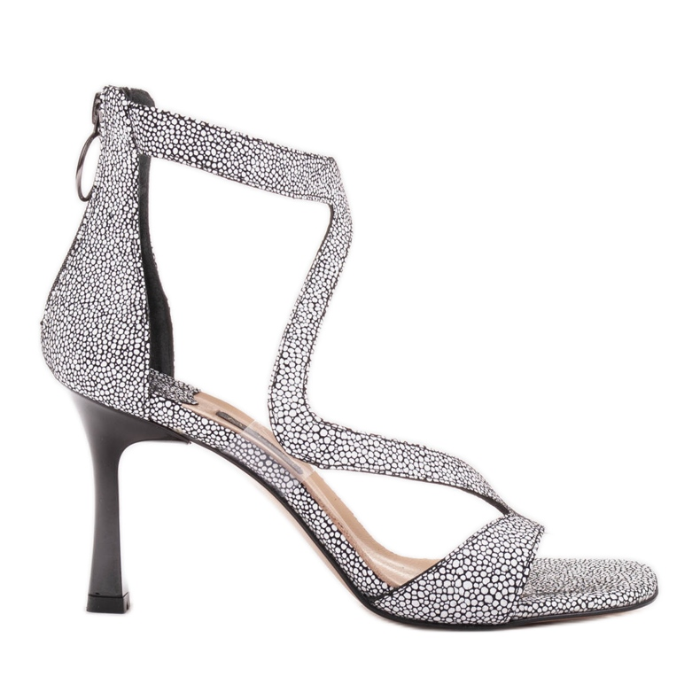 Marco Shoes Eleganckie sandały Ava białe czarne