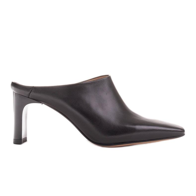 Marco Shoes Skórzane czółenka na lato z otwartym tyłem czarne