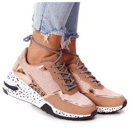 PS1 Damskie Sneakersy Na Koturnie Różowe Złoto Avery złoty