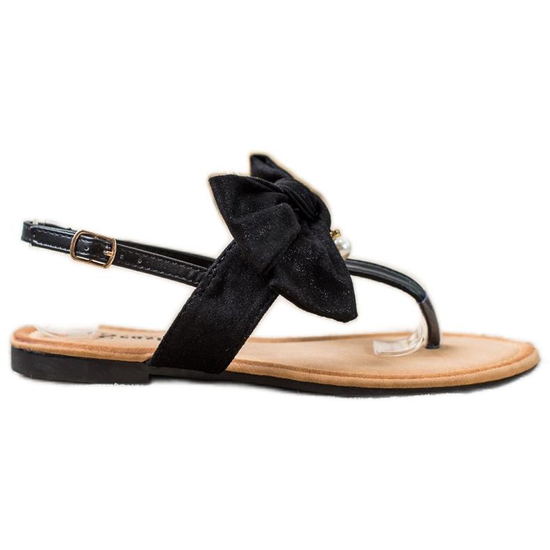 Seastar Stylowe Sandałki Z Kokardą czarne