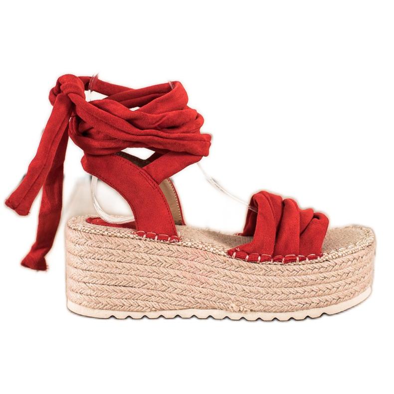 Seastar Wiązane Sandały Na Wysokiej Platformie czerwone