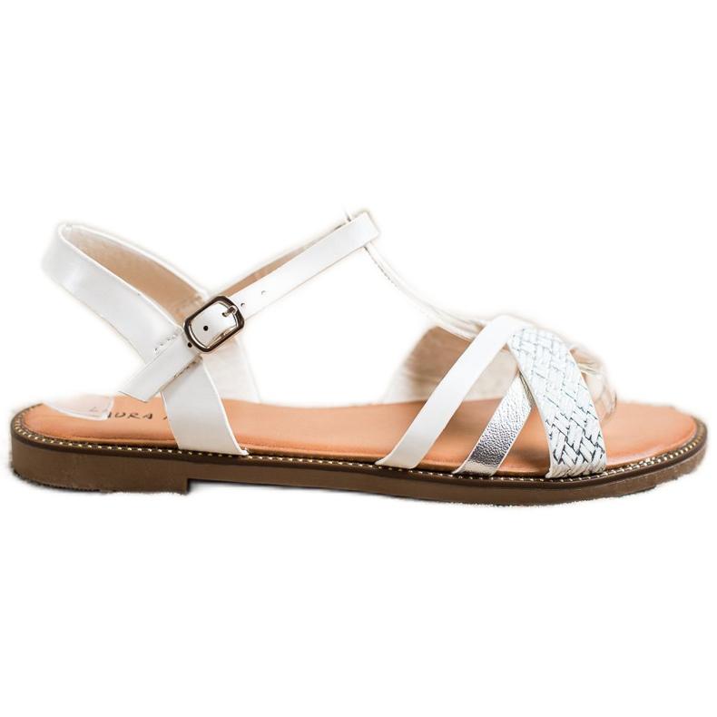 Laura Mode Casualowe Sandałki białe