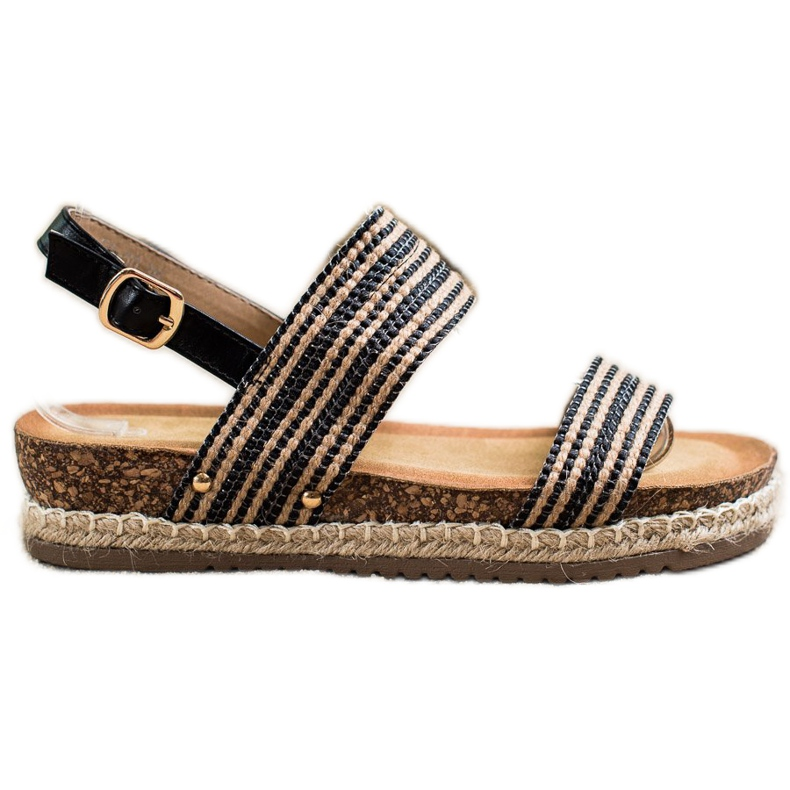 SHELOVET Wygodne Sandały Ze Sprzączką brązowe czarne