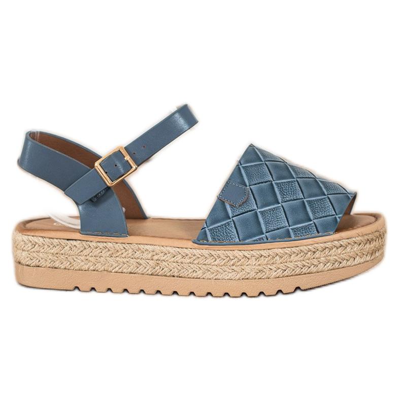 SHELOVET Sandały Espadryle Z Eko Skóry niebieskie