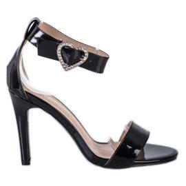 Diamantique Sandały Na Szpilce Z Ozdobą czarne
