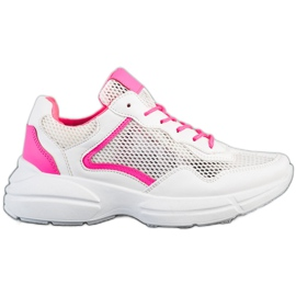 SHELOVET Sneakersy Z Siateczką białe różowe