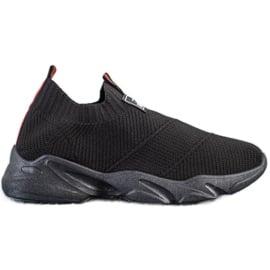 SHELOVET Czarne Wsuwane Sneakersy Fashion