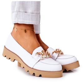 Skórzane Mokasyny Lewski Shoes 3040 Białe