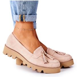 Zamszowe Mokasyny Lewski Shoes 3053 Cappuccino beżowy