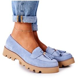 Zamszowe Mokasyny Lewski Shoes 3053 Błękitne niebieskie