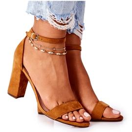 PS1 Zamszowe Sandały Na Słupku Camel Florence brązowe