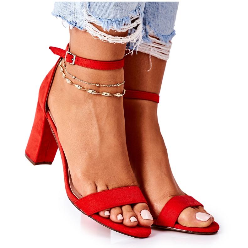 PS1 Zamszowe Sandały Na Słupku Czerwone Florence