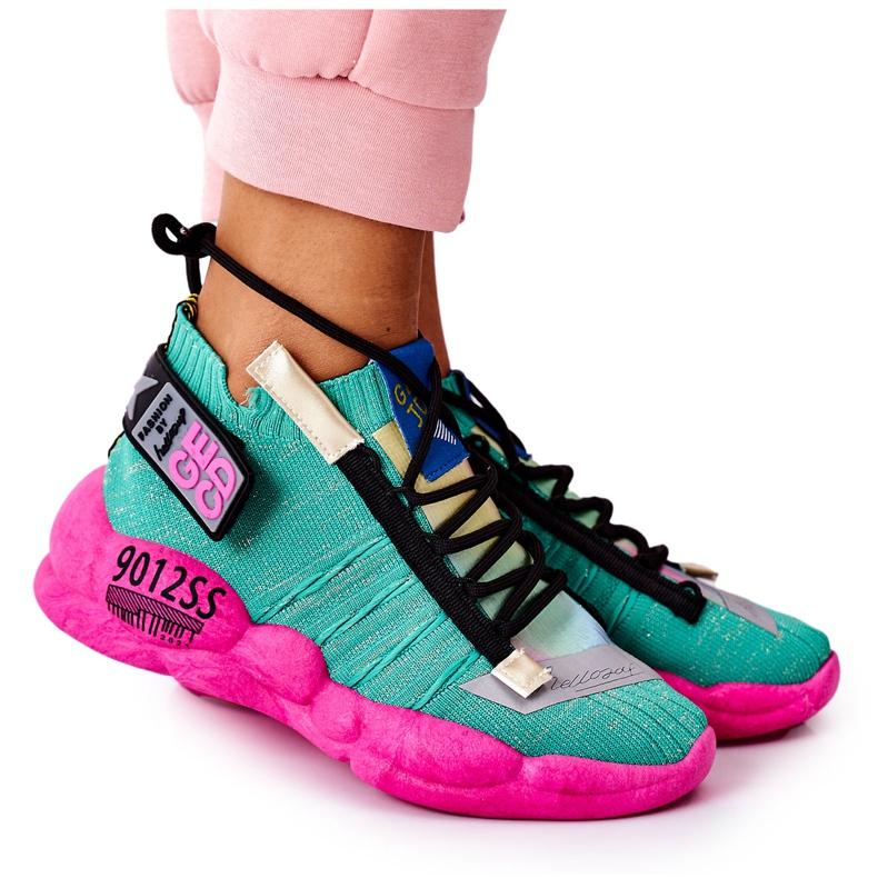 PS1 Damskie Sportowe Buty Sneakersy Zielone Bubble Tea różowe