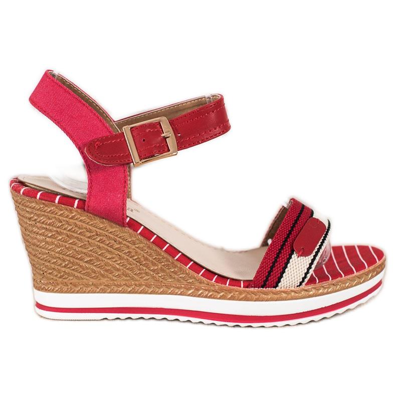 SHELOVET Sandałki Na Koturnie czerwone