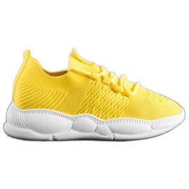 SHELOVET Klasyczne Tekstylne Sneakersy żółte