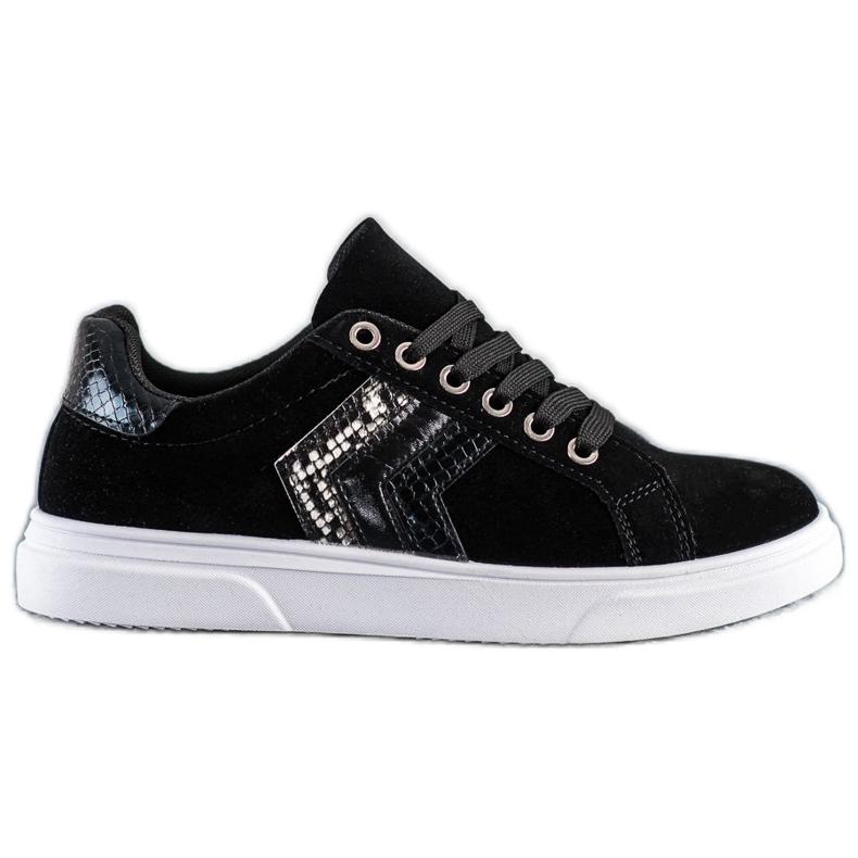 SHELOVET Zamszowe Sneakersy czarne