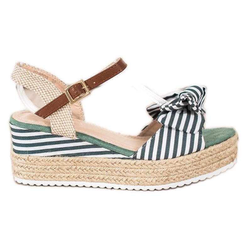 Sweet Shoes Sandały Espadryle W Paski zielone