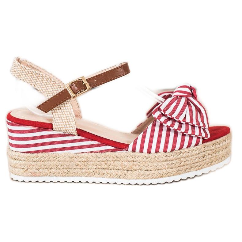 Sweet Shoes Sandały Espadryle W Paski czerwone