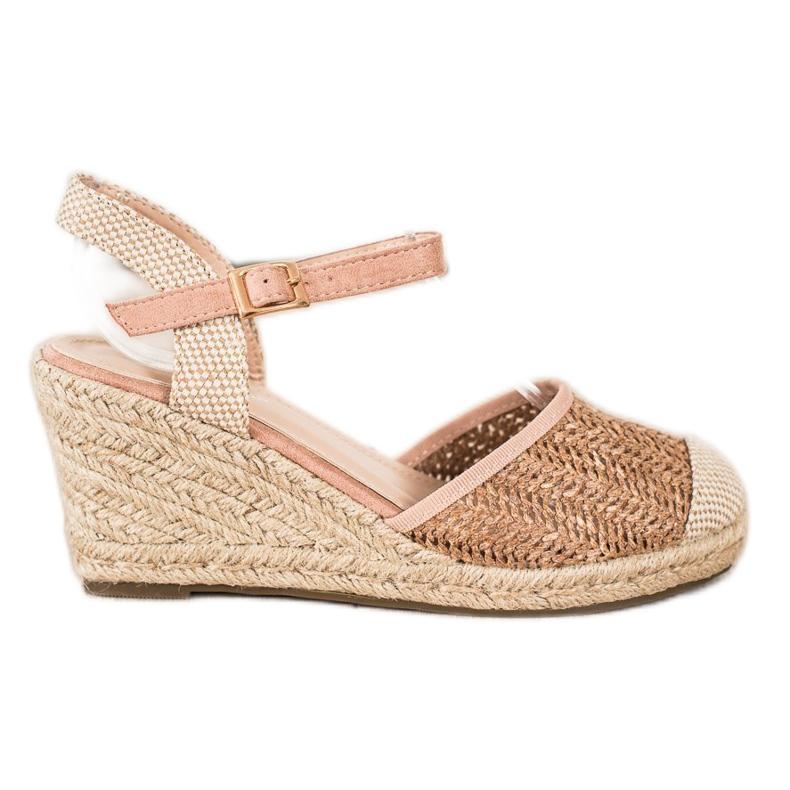 Sweet Shoes Ażurowe Espadryle Na Koturnie beżowy brązowe różowe
