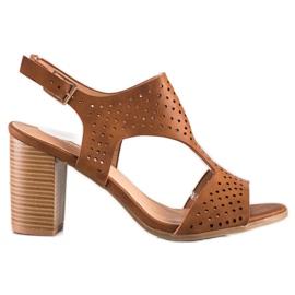 Renda Ażurowe Sandały Z Eko Skóry brązowe