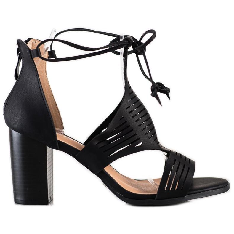 Renda Ażurowe Sandały Z Wiązaniem czarne