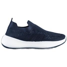 Renda Wsuwane Sneakersy Z Kryształkami niebieskie