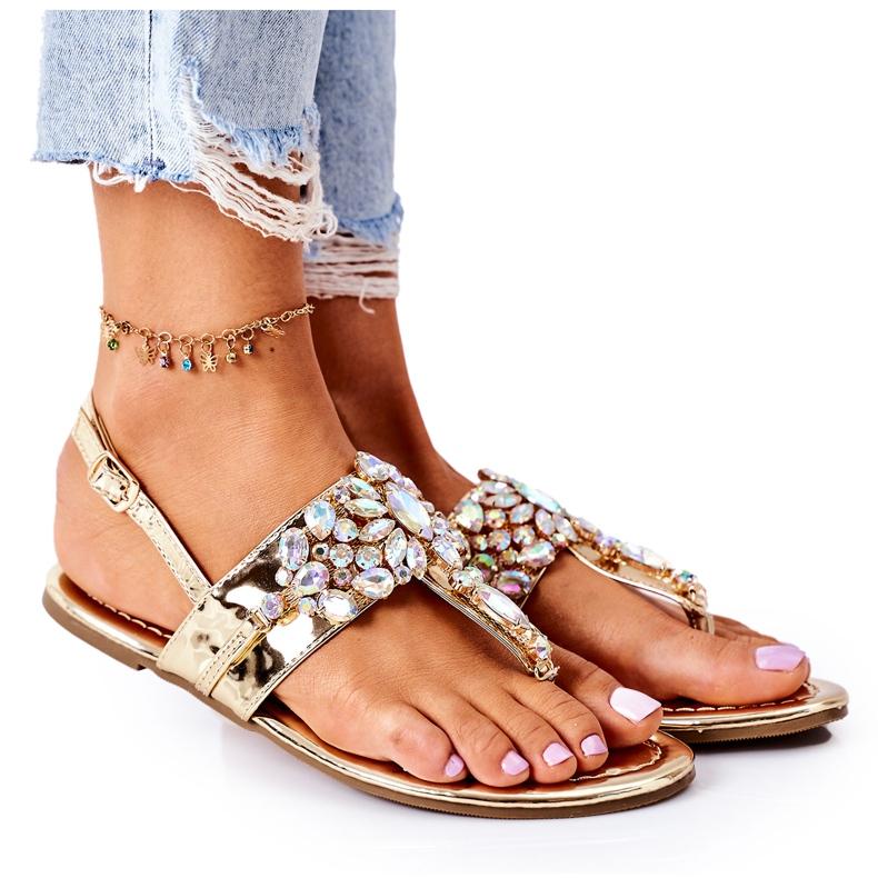 Sandały Japonki Z Kryształami Lu Boo Złote złoty