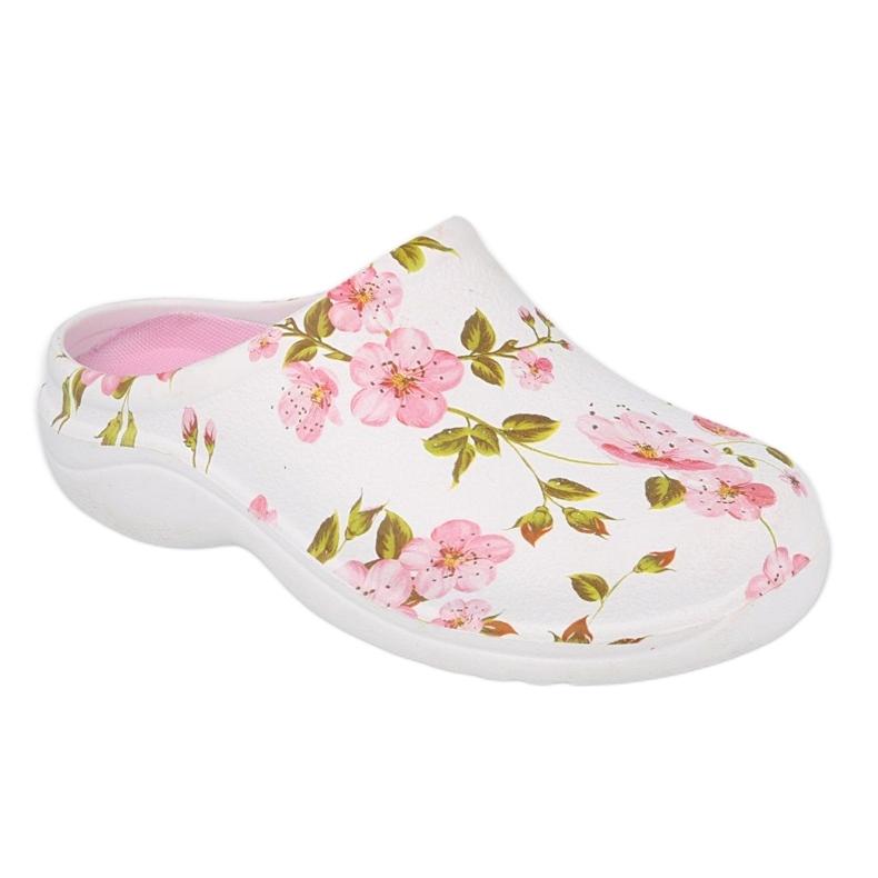 Befado obuwie damskie - flower 1 white / pink 154D101 białe różowe
