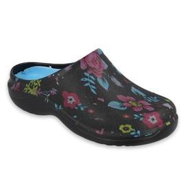 Befado obuwie damskie - flower 2 black / blue 154D102 czarne granatowe