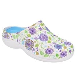 Befado obuwie damskie - flower 3 white / purple 154D103 białe fioletowe