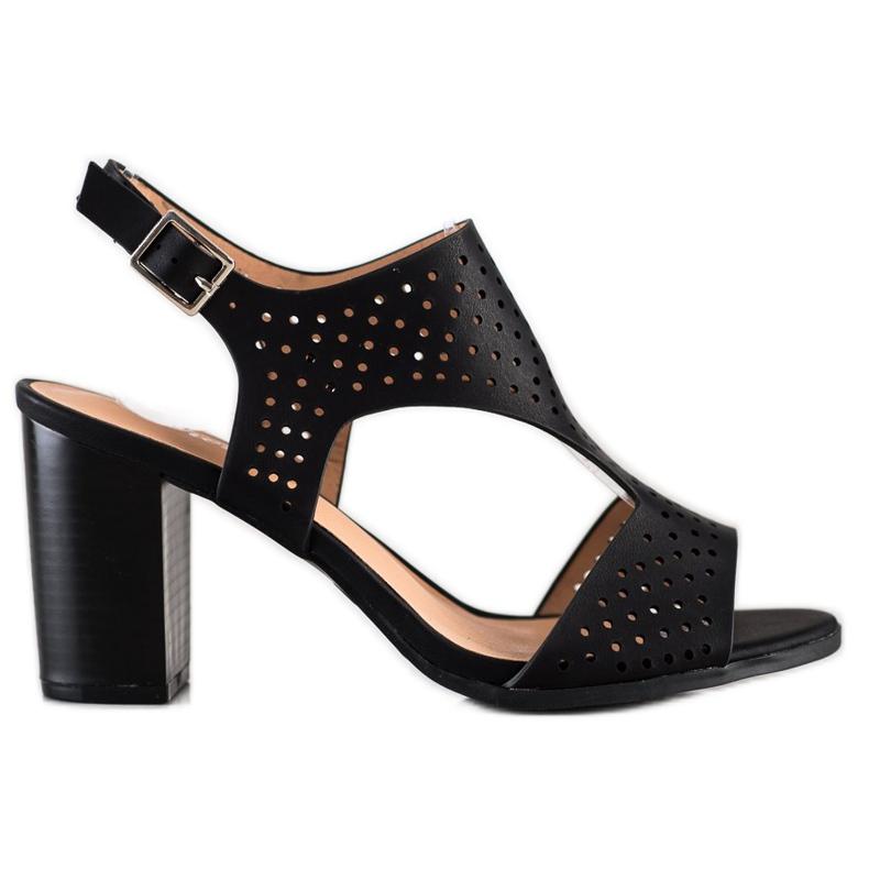 Renda Ażurowe Sandały Z Eko Skóry czarne