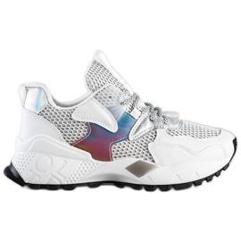 SHELOVET Sneakersy Z Siateczką Fashion białe