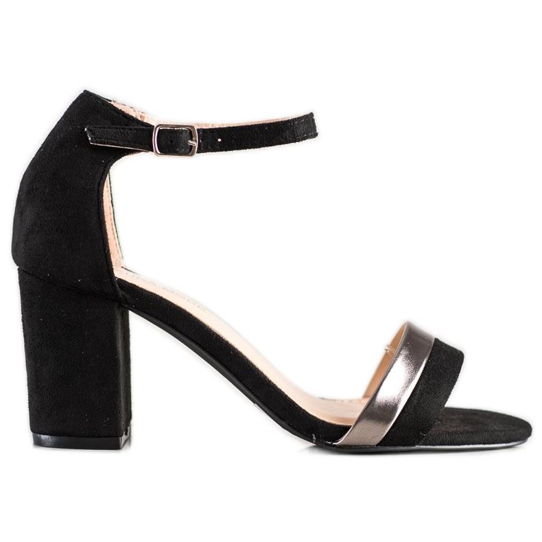 Laura Mode Stylowe Sandałki Na Obcasie czarne