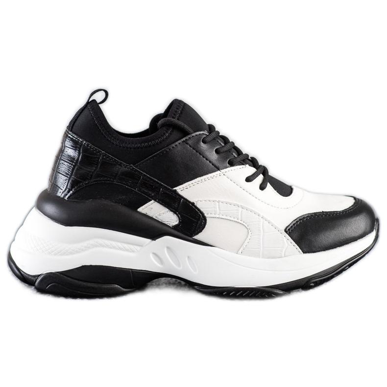 Melisa Wiązane Klasyczne Sneakersy białe czarne