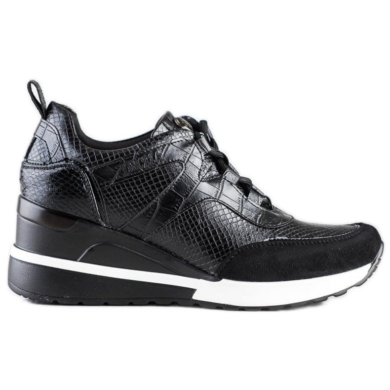 Sneakersy Na Koturnie VINCEZA czarne