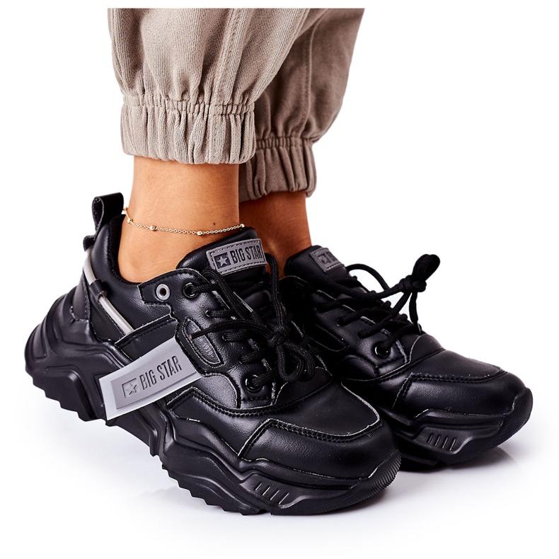 Damskie Sportowe Buty Sneakersy Big Star GG274215 Czarno-Szare czarne