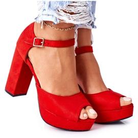 PW1 Zamszowe Sandały Na Słupku Czerwone Silvia