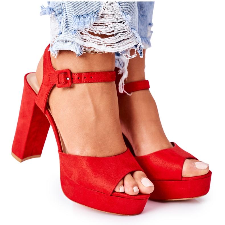 PW1 Zamszowe Sandały Na Słupku Czerwone Camilia