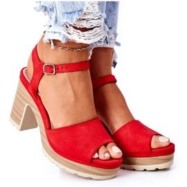 PW1 Sandały Na Słupku I Platformie Czerwone Maggie