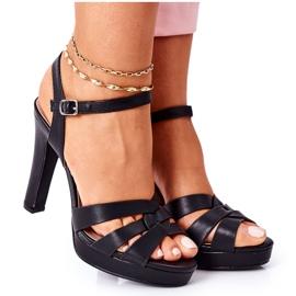 PW1 Eleganckie Sandały Na Słupku Czarne Anastasia
