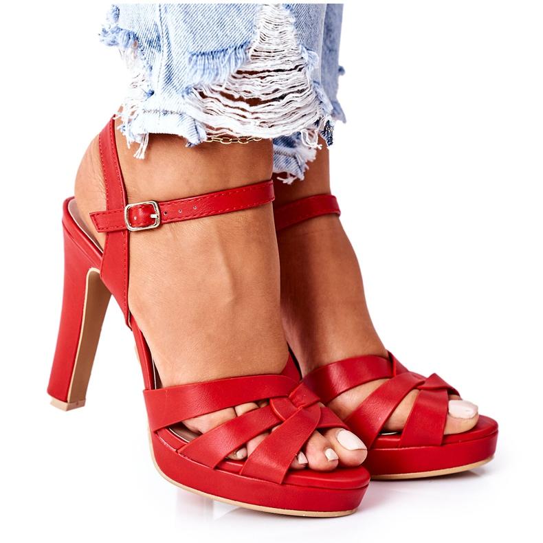 PW1 Eleganckie Sandały Na Słupku Czerwone Anastasia