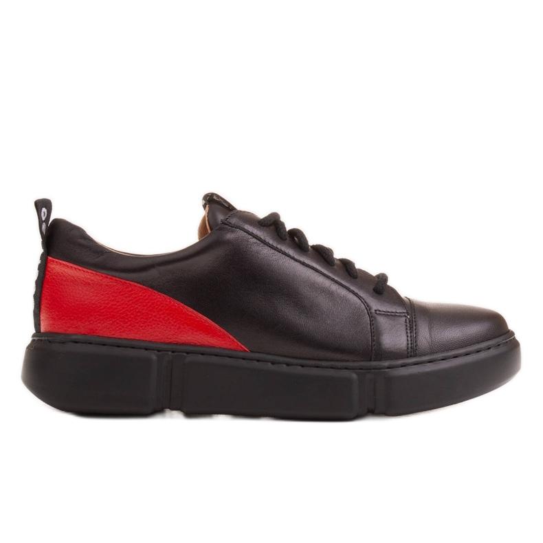 Marco Shoes Czarne skórzane sneakersy z wstawką na pięcie